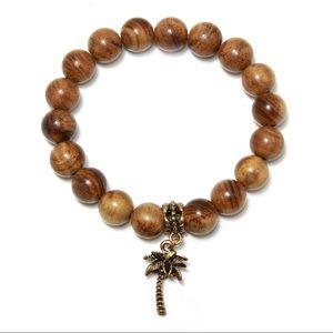 Jewelry - Wood bead bracelet with palm charm